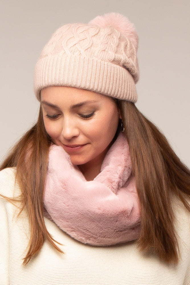 Bella Faux Fur Bobble Hat Baby Pink