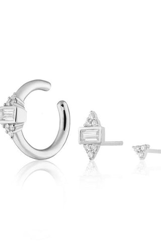 Audrey Set of Three Single Earrings - Silver