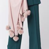 Cashmere Blend Wrap with Faux Fur Heart Poms | Pink