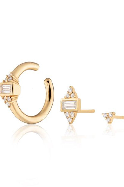 Audrey Set of Three Single Earrings | Gold