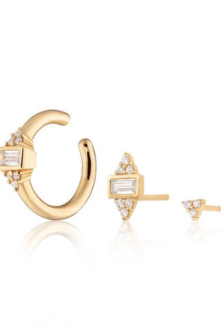 Audrey Set of Three Single Earrings - Gold