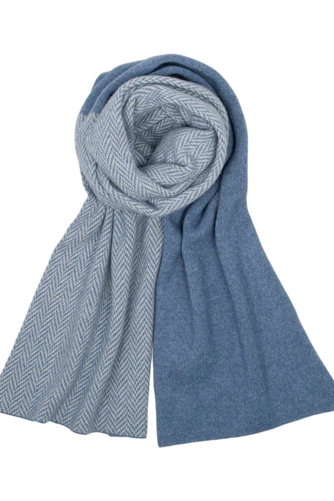 Cashmere Blend Twill Long Scarf | Denim & White