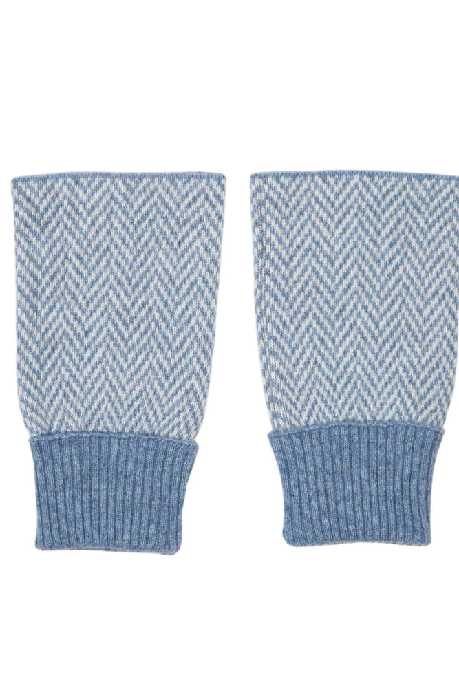 Cashmere Blend Twill Wrist Warmers | Denim