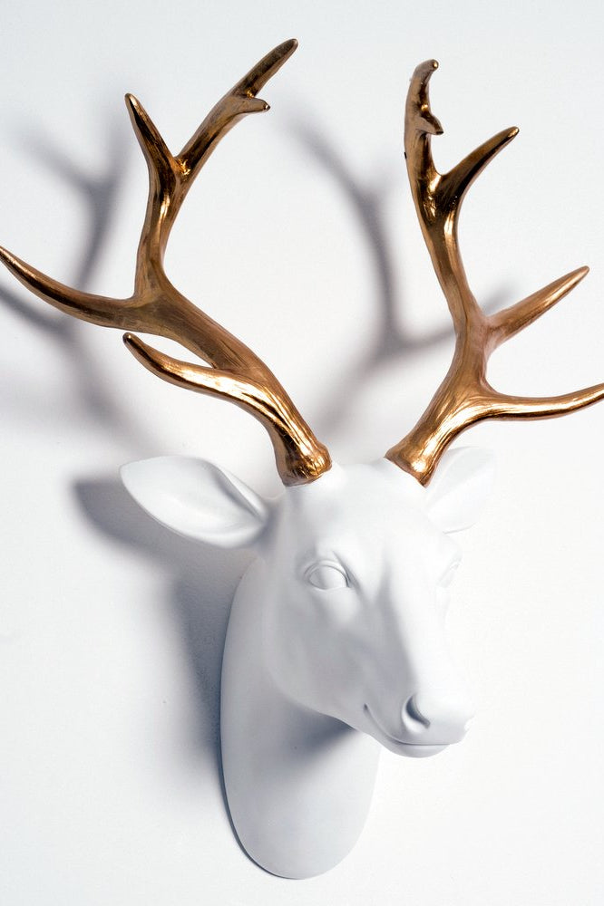 White & Gold Deer Head