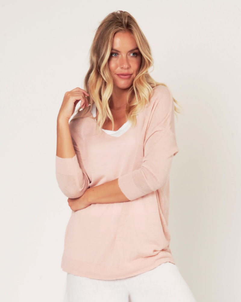Linen Mix Sweater | Soft Pink