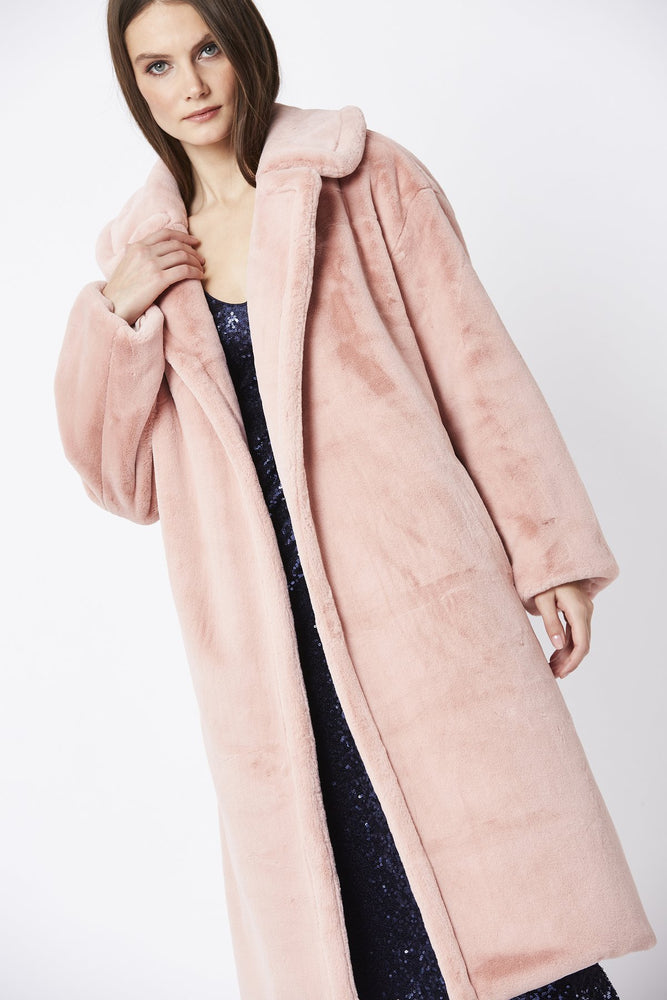 Faux Shaved Shearling Coat | Pink