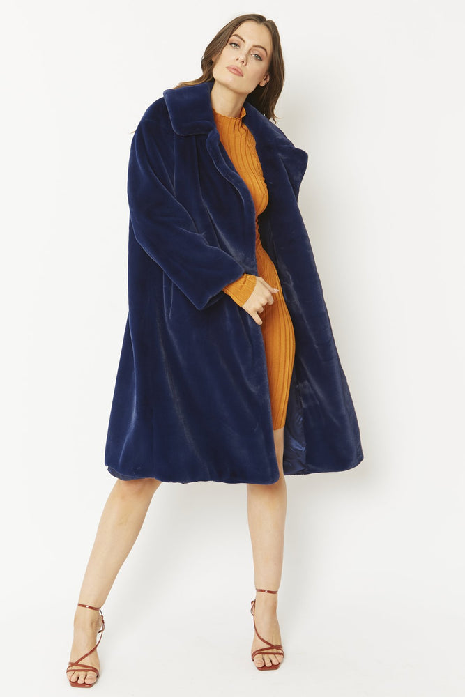 Faux Shaved Shearling Coat | Navy