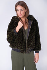 Faux Fur Reversible Bomber Jacket in Animal Print | Olive