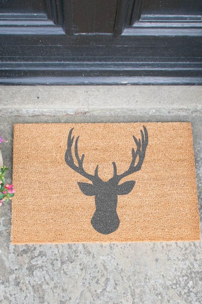 Doormat | Stag's Head | Grey