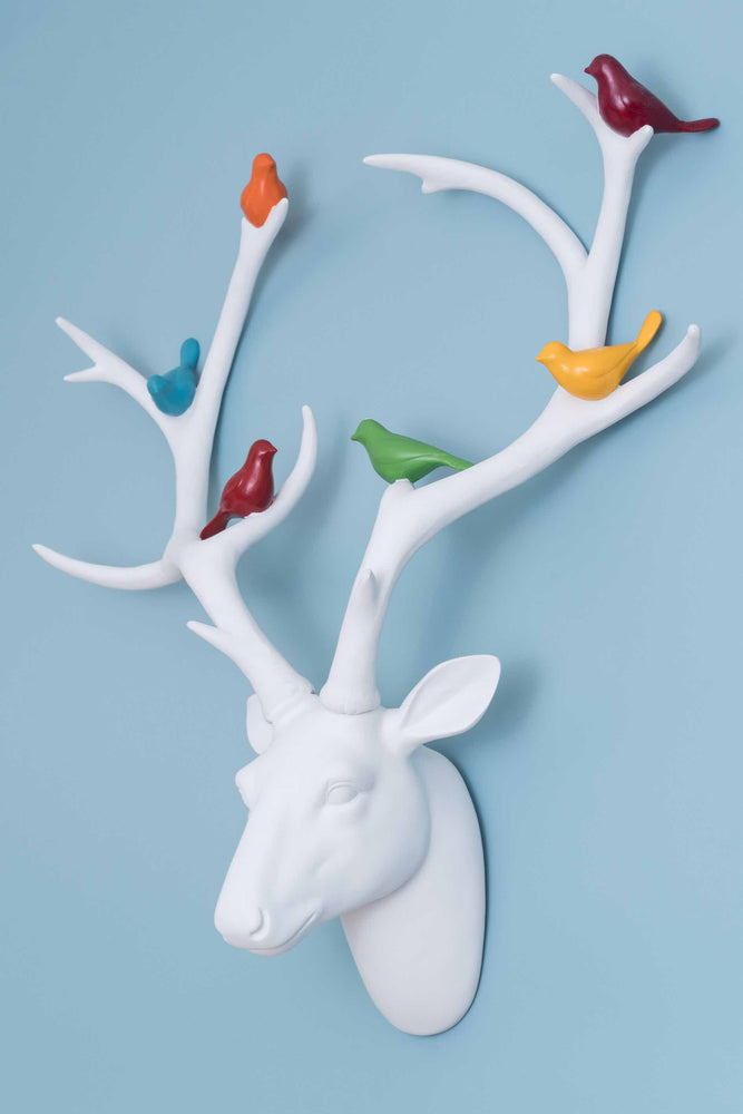 Stag's Head | White with Coloured Birds