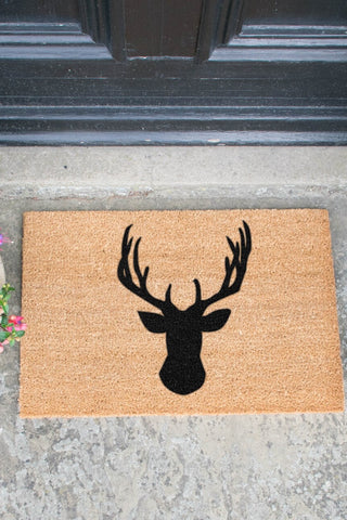Stag's Head Doormat - Black