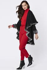Fine Knit Sleeved Cape Jacket with Coney Fur Trim | Black