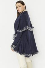 Fine Knit Sleeved Cape Jacket with Coney Fur Trim | Navy
