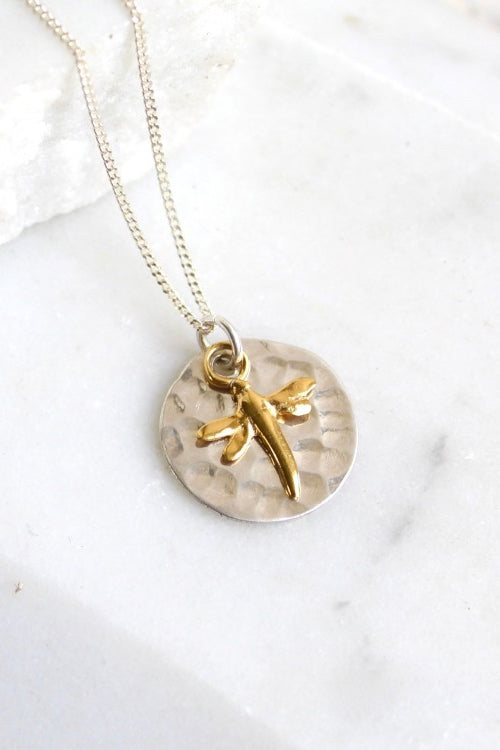Hammered Disc & Gold Dragonfly Necklace