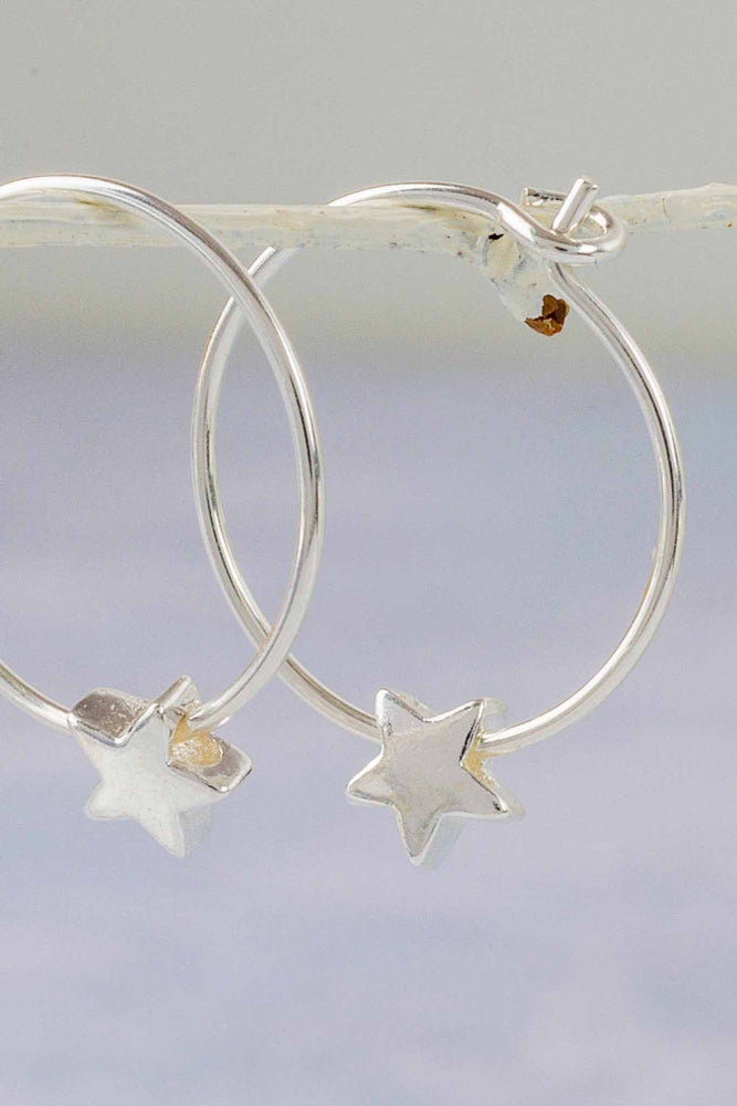 Sterling Silver Star Bead Hoops