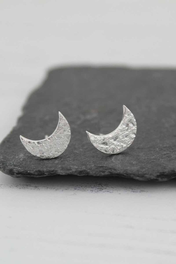 Silver Studs | Textured Moon