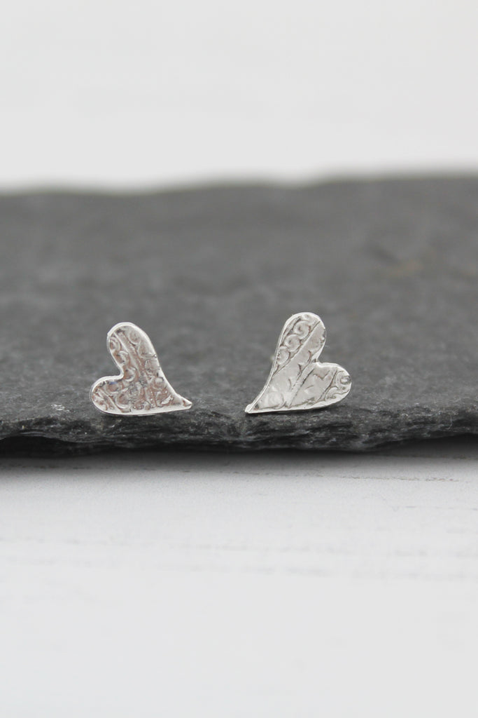 Silver Textured Tilted Heart Studs
