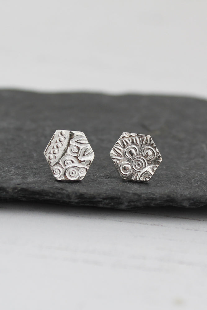 Silver Textured Hexagon Studs