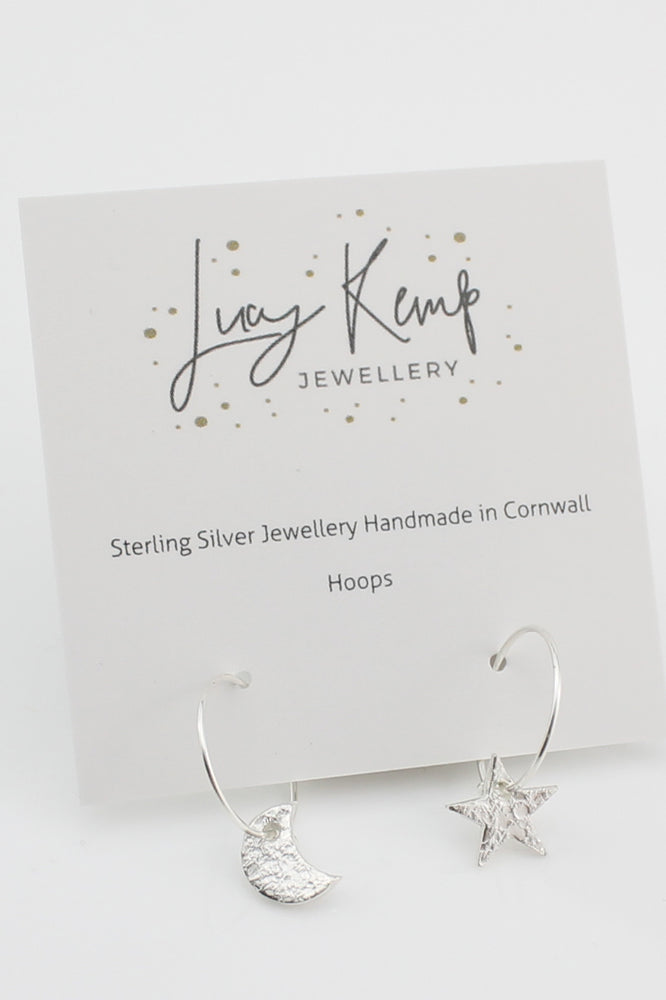 Silver Mismatch Star & Moon Hoops