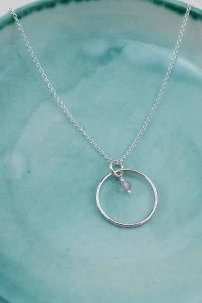 Handmade Sterling Silver Celestial Hoop Pendant with Rose Quartz