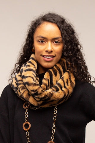Suzie Faux Fur Snood - Tiger