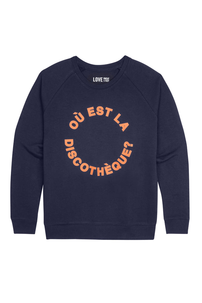Sweatshirt | Ou est la Discotheque | Coral on Navy | Relaxed Fit