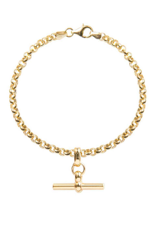 Gold Belcher Bracelet With Gold-T-Bar