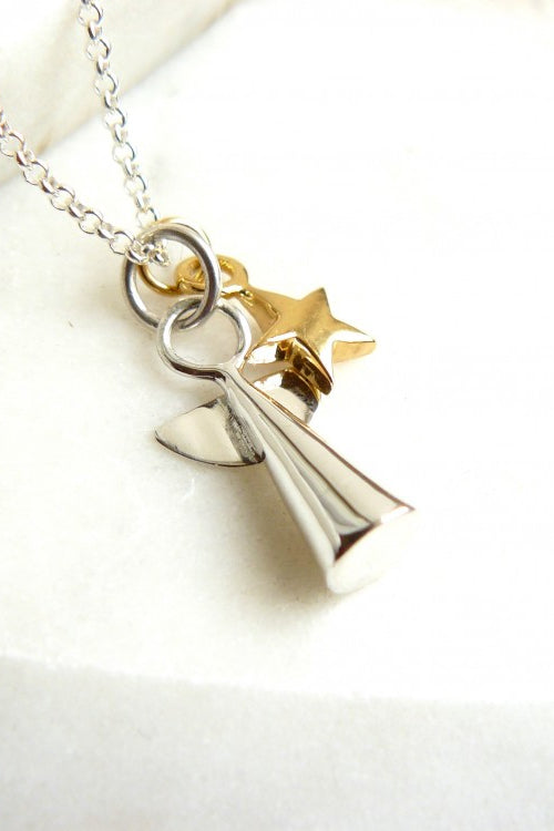 Silver Angel and Gold Star Charm Necklace