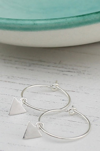 Sterling Silver Arrow Charm Hoops