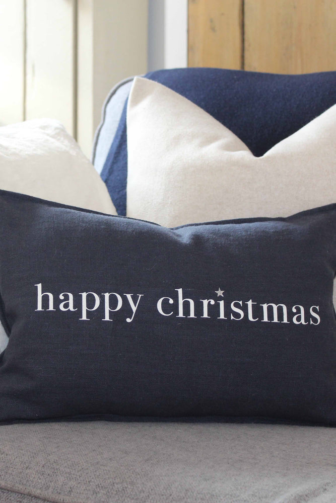 Oblong Christmas Cushion | Navy