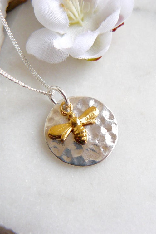 Hammered Disc & Gold Bee Necklace