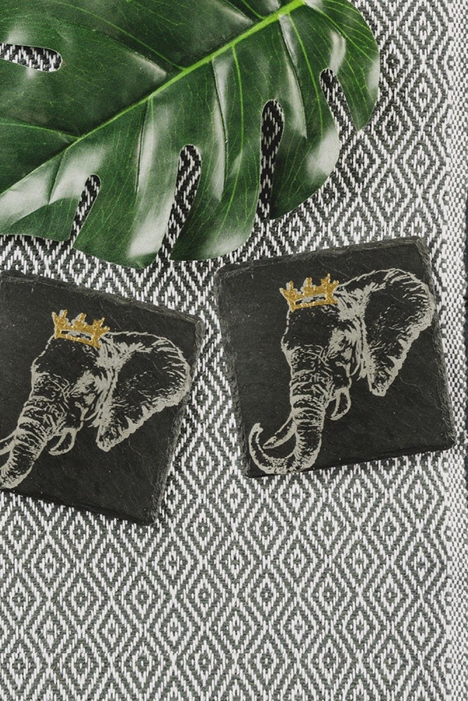Etched Slate Gold Leaf Coasters | Crowned Elephant