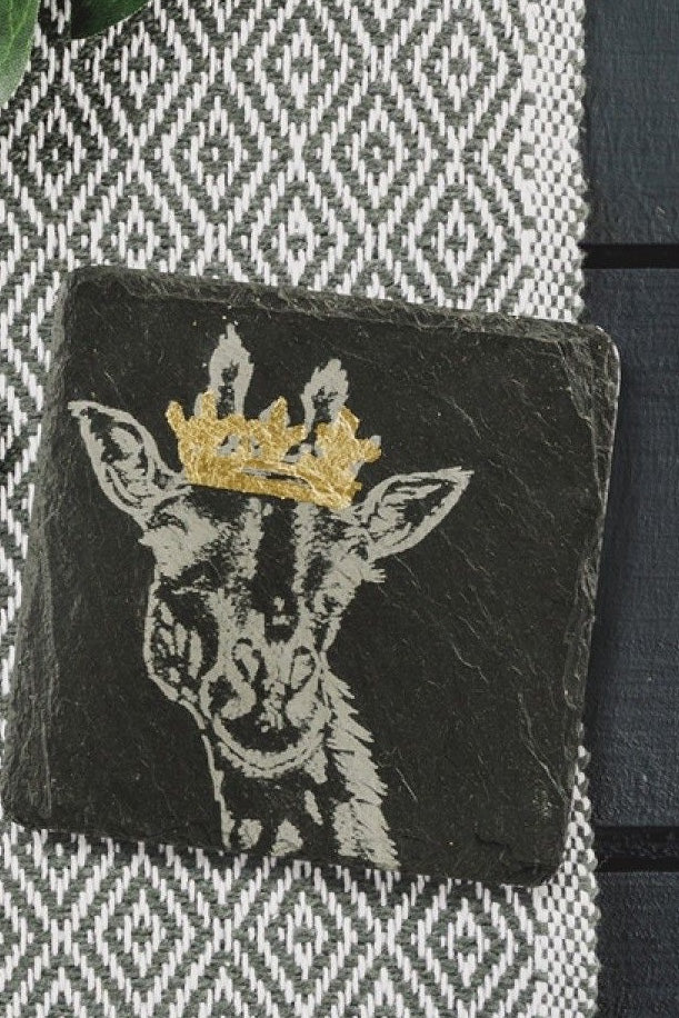Etched Slate Gold Leaf Coasters | Crowned Giraffe