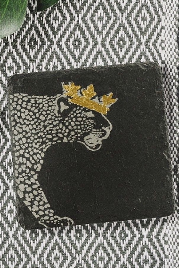 Etched Slate Gold Leaf Coasters | Crowned Leopard