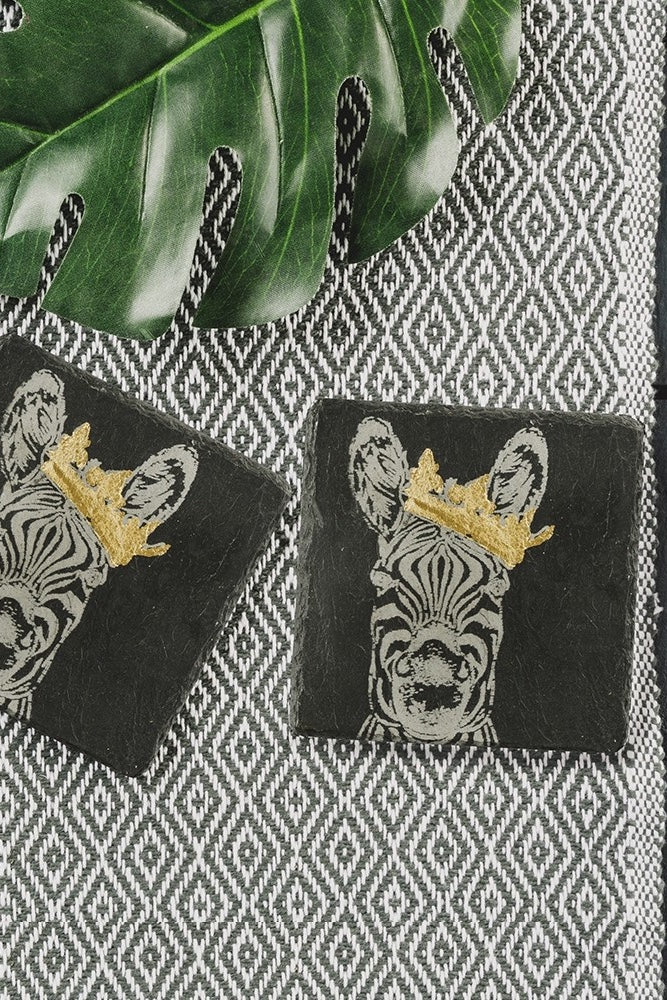 Etched Gold Leaf Coasters | Crowned Zebra