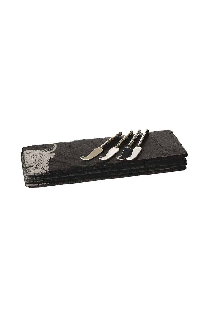 Etched Slate Mini Cheese Board & Knife Set | Highland Cow