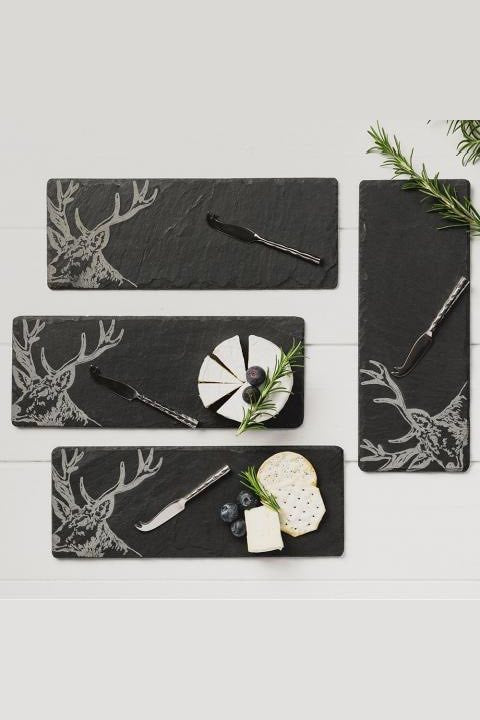Etched Slate Mini Cheese Board & Knife Set | Stag