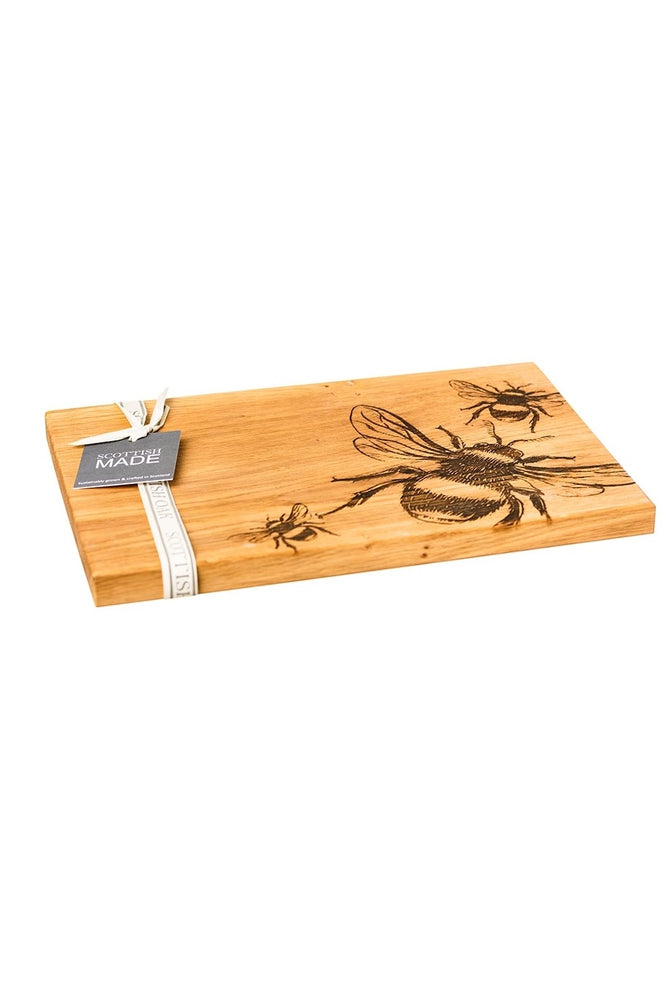 Etched Oak Serving Board | Bees
