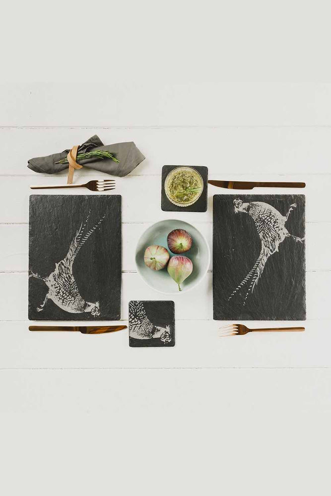 Etched Slate Place Mats | Pheasants