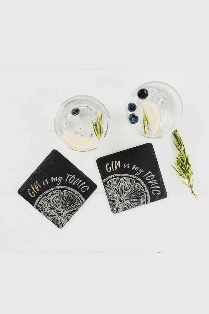Etched Slate Gold Leaf Coasters | Gin Is My Tonic