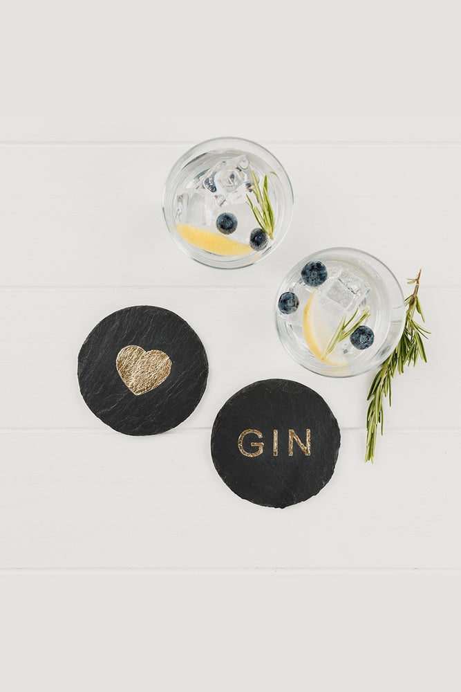 Etched Slate Gold Leaf Coasters | Love Gin