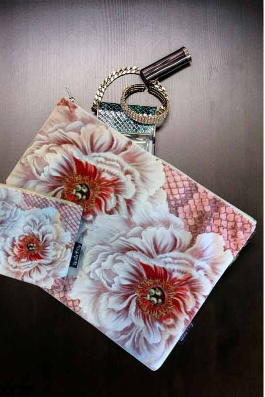 Make-Up Bag with Velvet Pouch - Pink Flowers