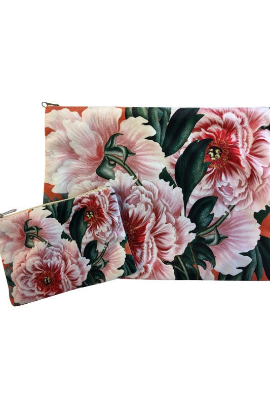 Make-Up Bag with Velvet Pouch | Orange & Cream Flowers on Green