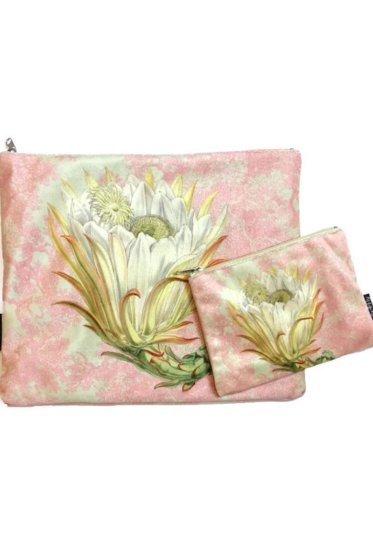 Make-Up Bag with Velvet Pouch -  Flower on Pink