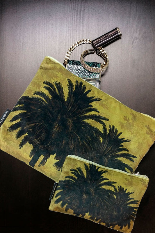 Make-Up Bag with Velvet Pouch -  Yellow Palm