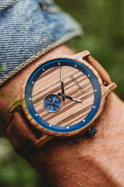 Wood Watch | Sycamore | Zebrano Wood | Vegan Tan Strap