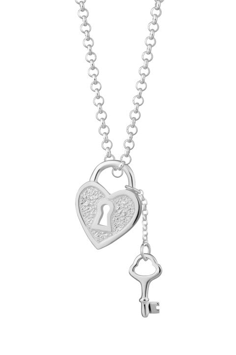 Silver Heart Shaped Padlock and Key Necklace