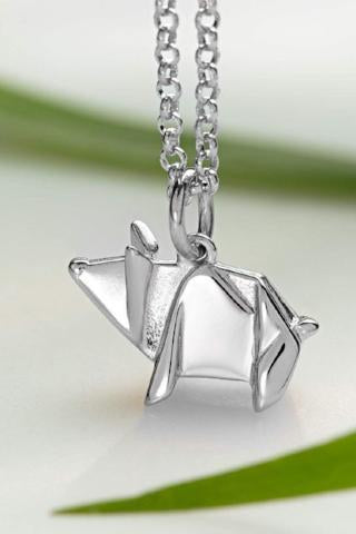 Silver Origami Pig Necklace