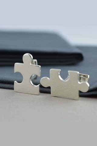 NEW! Silver Jigsaw Cufflinks