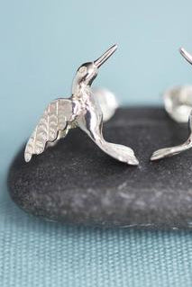 Silver Hummingbird Stud Earrings